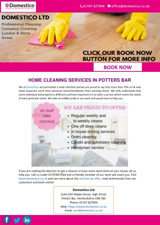 HOME CLEANING SERVICES IN POTTERS BAR