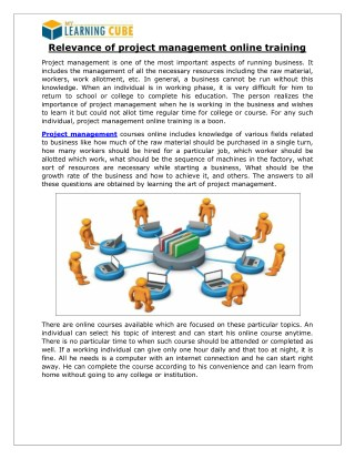 Relevance of project management online training