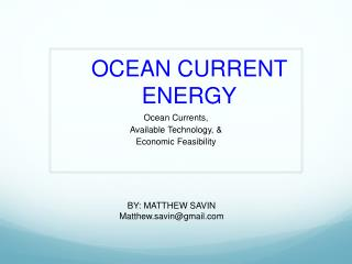 OCEAN CURRENT ENERGY