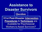 Assistance to Disaster Survivors