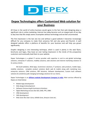Depex Technologies offers Customized Web soluion For your Business