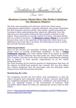 Business Lawyer Miami Have The Perfect Solutions For Business Matters