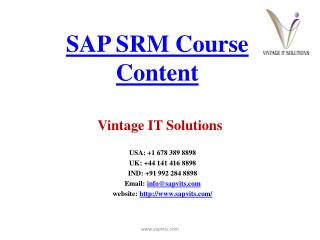 SAP SRM Course Content PPT