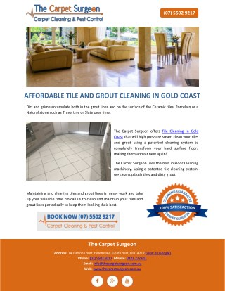 AFFORDABLE TILE AND GROUT CLEANING IN GOLD COAST