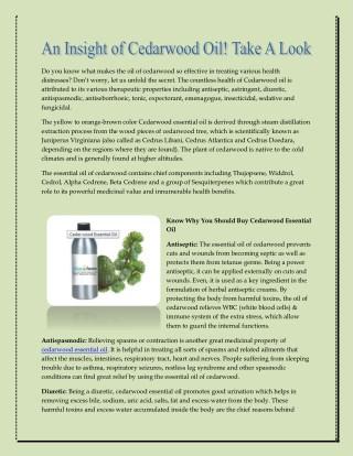 An Insight of Cedarwood Oil! Take A Look