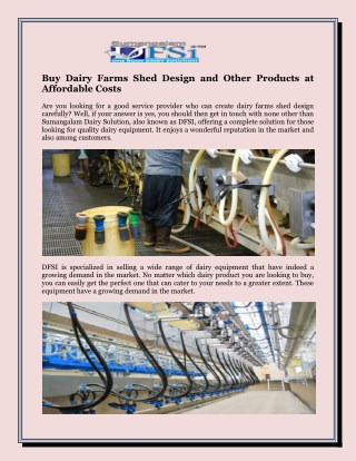 Buy Dairy Farms Shed Design and Other Products at Affordable Costs