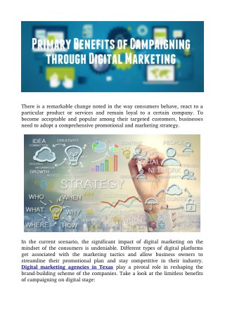 Primary Benefits of Campaigning through Digital Marketing
