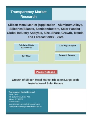 Silicon Metal Market Analysis by Global Segments, Growth, Size and Forecast 2024