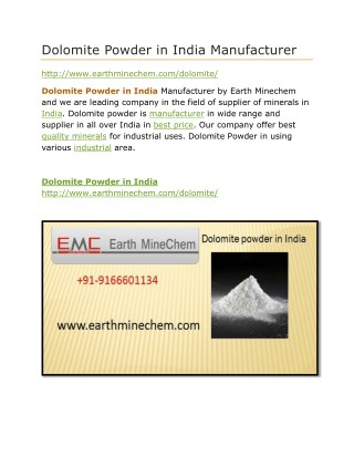 Dolomite Powder in India Price