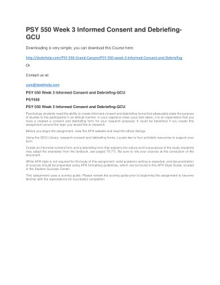 PSY 550 Week 3 Informed Consent and Debriefing-GCU