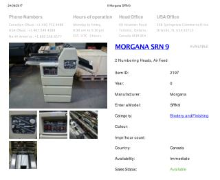 Buy Used MORGANA SRN 9 Machine