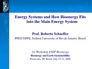Energy Systems and How Bioenergy Fits into the Main Energy System  Prof. Roberto Schaeffer PPE