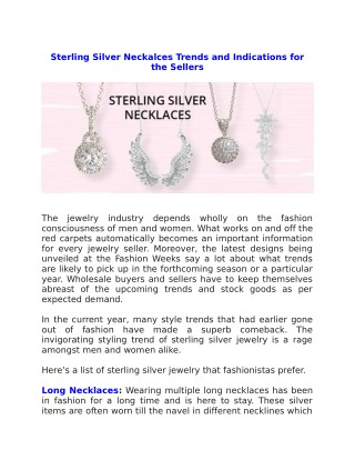 Sterling Silver Neckalces Trends and Indications for the Sellers