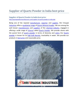 Supplier of Quartz Powder in India best price