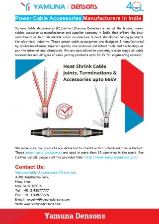 Power Cable Accessories Manufacturers In India - Yamuna Densons