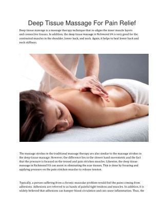 Deep Tissue Massage For Pain Relief