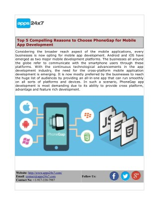 Top 5 Compelling Reasons to Choose PhoneGap for Mobile App Development