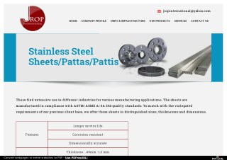 Jrop International Provides Stainless Steel Sheets
