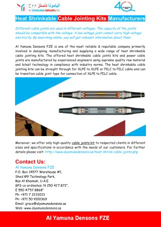 Heat Shrinkable Cable Jointing Kits Manufacturers - Al Yamuna Densons