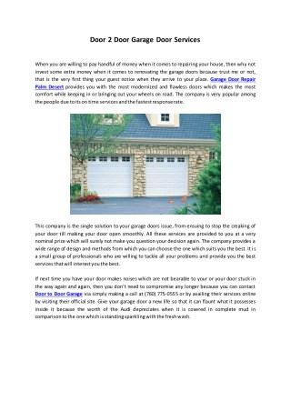 Door 2 Door Garage Door Services