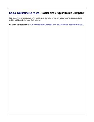 Social Marketing Services - Social Media Optimization Company