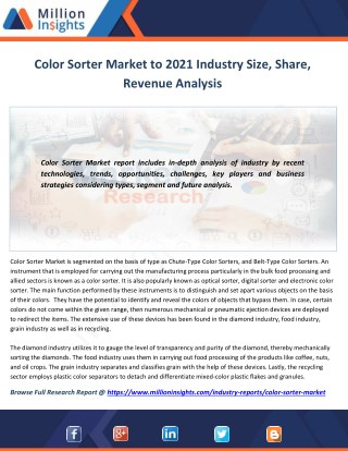 Color Sorter Market Trends, Analysis, Growth, Industry Outlook and Overview By Million Insights