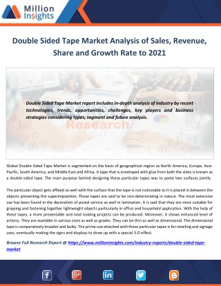 Double Sided Tape Market Shares, Strategies and Forecasts, Analysis and Overview