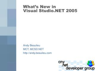 What's New in Visual Studio.NET 2005