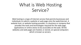 What is Web Hosting Service?