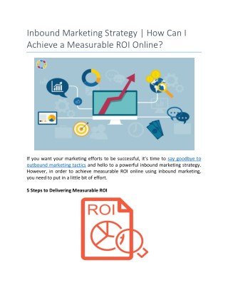 Inbound Marketing Strategy | How Can I Achieve a Measurable ROI Online?