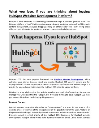 What You Lose, if You Thinking about Leaving HubSpot Websites Development Platform?