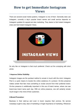 How to get Immediate Instagram Views