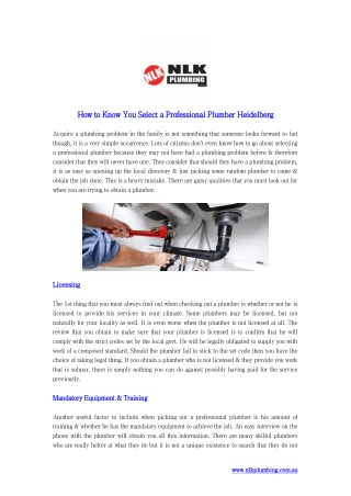 How to Know You Select a Professional Plumber Heidelberg