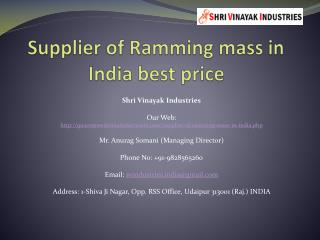 Supplier of Ramming mass in India best price