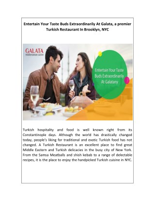 Entertain Your Taste Buds Extraordinarily At Galata, a premier Turkish Restaurant In Brooklyn, NYC