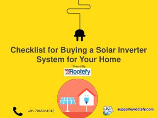 Checklist for buying a solar inverter system for your home