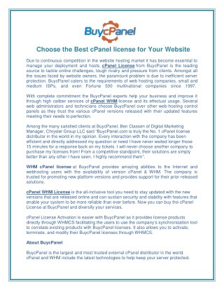 Choose the Best cPanel license for Your Website