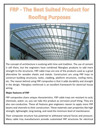 FRP - The Best Suited Product for Roofing Purposes