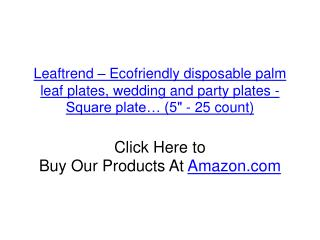"Leaftrend – Ecofriendly disposable palm leaf plates, wedding and party plates -Square plate… (5"" - 25 count)"