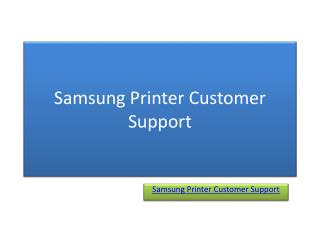 Samsung Printer Customer Support