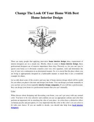 Change The Look Of Your Home With Best Home Interior Design CHANGE THE LOOK OF YOUR HOME WITH BEST HOME INTERIOR DESIGN