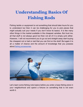 Understanding Basics Of Fishing Rods