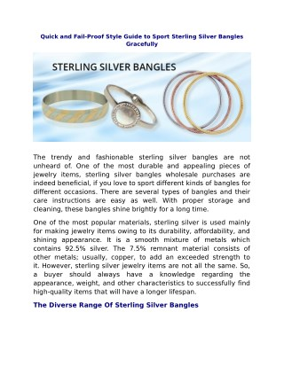 Quick and Fail-Proof Style Guide to Sport Sterling Silver Bangles Gracefully