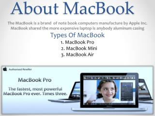 About Macbook Repair & Services