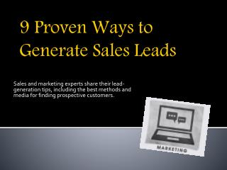 9 Proven Ways to Generate Sales Leads