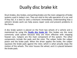 Dually disc brake kit