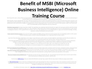 Benefit of MSBI (Microsoft Business Intelligence) Online Training Course