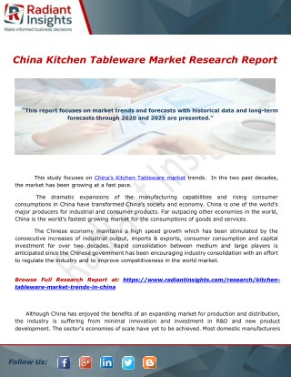 China Kitchen Tableware Market Research Report