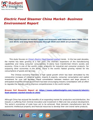 Electric Food Steamer China Market- Business Environment Report