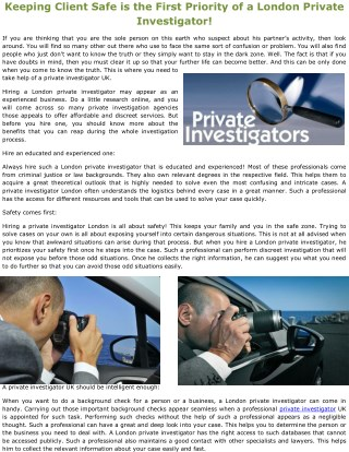 Keeping Client Safe is the First Priority of a London Private Investigator!